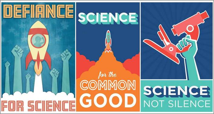 Three posters that say, Defiance for Science, Science for the Common Good, and Science Not Silence.
