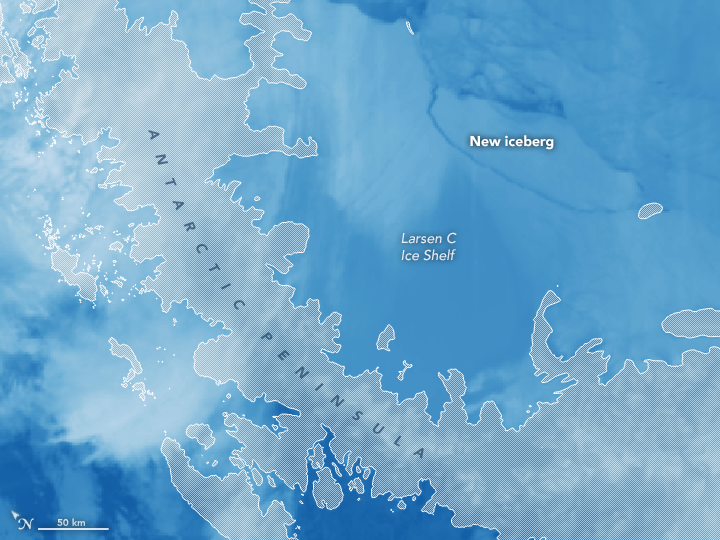 Image of Larsen C Ice Shelf and new iceberg