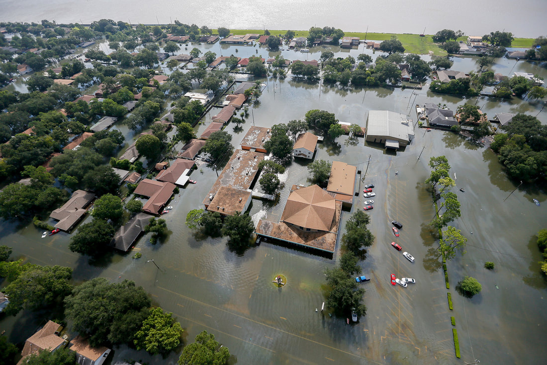 Aerial view shows flooding in Port Arthur, TX